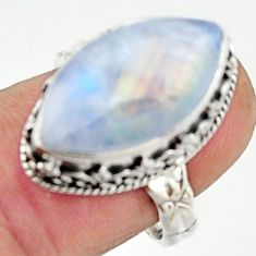 8.96cts natural rainbow moonstone 925 silver solitaire ring size 7.5 r22335