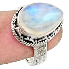 7.10cts natural rainbow moonstone 925 silver solitaire ring size 7.5 r22379