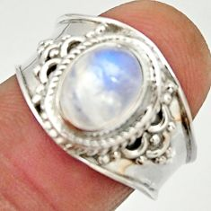 3.01cts natural rainbow moonstone 925 silver solitaire ring size 7.5 r22475