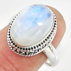 6.48cts natural rainbow moonstone 925 silver solitaire ring size 8.5 r26314