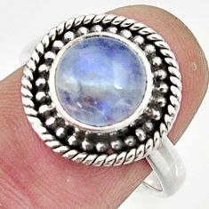 4.70cts natural rainbow moonstone 925 silver solitaire ring size 7.5 r26615