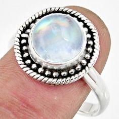 5.27cts natural rainbow moonstone 925 silver solitaire ring size 8.5 r26617