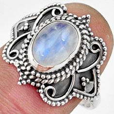 3.01cts natural rainbow moonstone 925 silver solitaire ring size 8.5 r26796