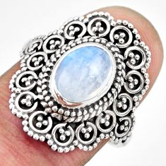 3.25cts natural rainbow moonstone 925 silver solitaire ring size 7.5 r26940