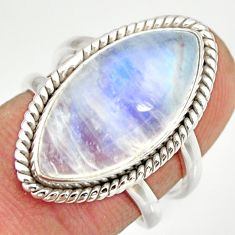 11.46cts natural rainbow moonstone 925 silver solitaire ring size 6.5 r27023