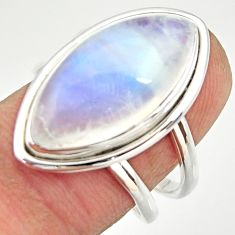 11.46cts natural rainbow moonstone 925 silver solitaire ring size 7.5 r27031