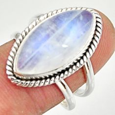11.89cts natural rainbow moonstone 925 silver solitaire ring size 8.5 r27033