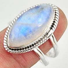 13.09cts natural rainbow moonstone 925 silver solitaire ring size 8.5 r27035