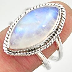 11.89cts natural rainbow moonstone 925 silver solitaire ring size 8.5 r27036
