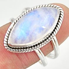 11.42cts natural rainbow moonstone 925 silver solitaire ring size 8.5 r27037