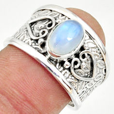 2.33cts natural rainbow moonstone 925 silver solitaire ring size 7.5 r34616