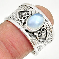 2.33cts natural rainbow moonstone 925 silver solitaire ring size 8.5 r34617
