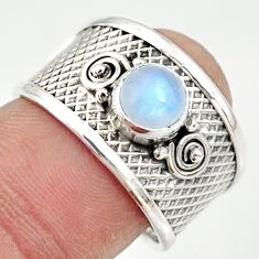 1.28cts natural rainbow moonstone 925 silver solitaire ring size 7.5 r34679