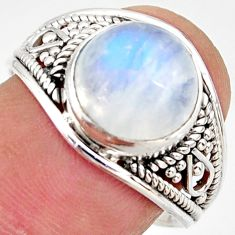 5.26cts natural rainbow moonstone 925 silver solitaire ring size 8.5 r35438