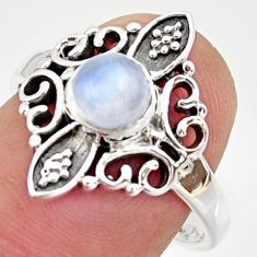 1.21cts natural rainbow moonstone 925 silver solitaire ring size 7.5 r35916