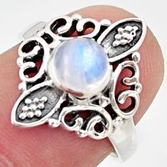 1.16cts natural rainbow moonstone 925 silver solitaire ring size 5.5 r35917