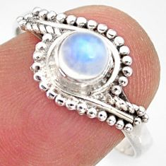 0.72cts natural rainbow moonstone 925 silver solitaire ring size 8.5 r35977