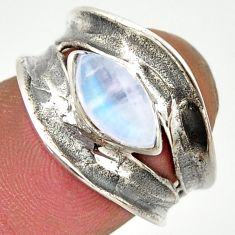 2.13cts natural rainbow moonstone 925 silver solitaire ring size 6.5 r37100