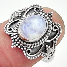 3.50cts natural rainbow moonstone 925 silver solitaire ring size 7.5 r40477