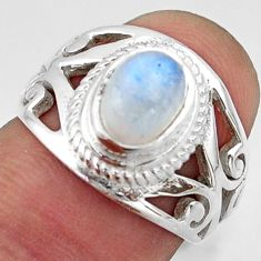 2.20cts natural rainbow moonstone 925 silver solitaire ring size 6.5 r40919