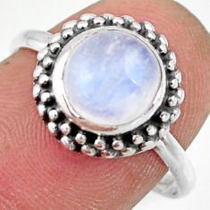 3.10cts natural rainbow moonstone 925 silver solitaire ring size 8.5 r41399