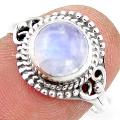 2.68cts natural rainbow moonstone 925 silver solitaire ring size 7.5 r41420