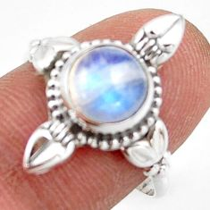 3.05cts natural rainbow moonstone 925 silver solitaire ring size 8.5 r41440