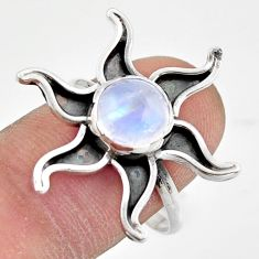 3.50cts natural rainbow moonstone 925 silver solitaire ring size 8.5 r41476