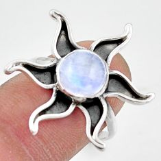 3.48cts natural rainbow moonstone 925 silver solitaire ring size 7.5 r41479