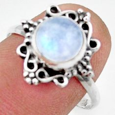 3.03cts natural rainbow moonstone 925 silver solitaire ring size 8.5 r41500