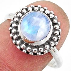 3.29cts natural rainbow moonstone 925 silver solitaire ring size 8.5 r41579