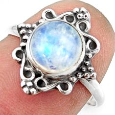 2.88cts natural rainbow moonstone 925 silver solitaire ring size 7.5 r41580