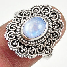 3.36cts natural rainbow moonstone 925 silver solitaire ring size 7.5 r41800