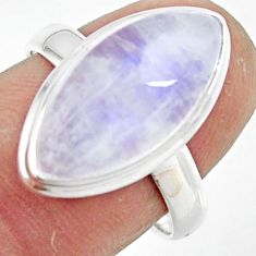 8.14cts natural rainbow moonstone 925 silver solitaire ring size 7.5 r47366