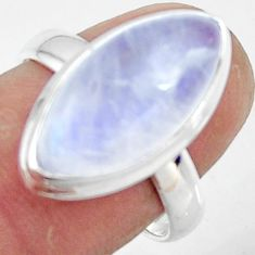 8.78cts natural rainbow moonstone 925 silver solitaire ring size 7.5 r47369