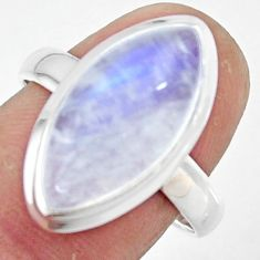 8.58cts natural rainbow moonstone 925 silver solitaire ring size 8.5 r47370
