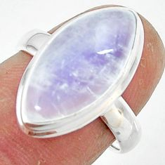 8.35cts natural rainbow moonstone 925 silver solitaire ring size 6.5 r47371