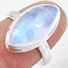 8.11cts natural rainbow moonstone 925 silver solitaire ring size 7.5 r47372