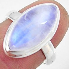 8.45cts natural rainbow moonstone 925 silver solitaire ring size 7.5 r47378
