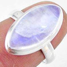 7.94cts natural rainbow moonstone 925 silver solitaire ring size 6.5 r47379