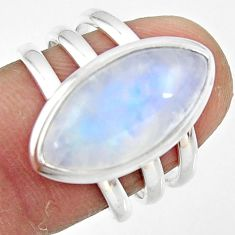 9.13cts natural rainbow moonstone 925 silver solitaire ring size 7.5 r47402