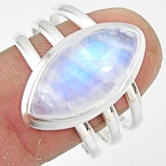 8.36cts natural rainbow moonstone 925 silver solitaire ring size 9.5 r47403