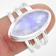 8.63cts natural rainbow moonstone 925 silver solitaire ring size 8.5 r47415