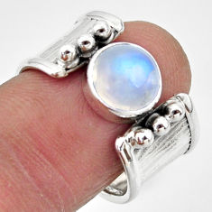 3.16cts natural rainbow moonstone 925 silver solitaire ring size 7.5 r49806