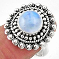 4.93cts natural rainbow moonstone 925 silver solitaire ring size 7.5 r52522