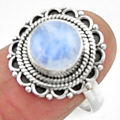 4.69cts natural rainbow moonstone 925 silver solitaire ring size 7.5 r52527