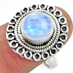 4.84cts natural rainbow moonstone 925 silver solitaire ring size 8.5 r52529