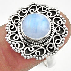 4.92cts natural rainbow moonstone 925 silver solitaire ring size 8.5 r52531