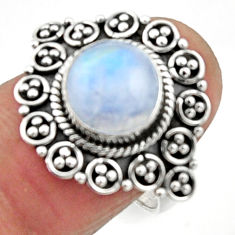 4.63cts natural rainbow moonstone 925 silver solitaire ring size 7.5 r52534