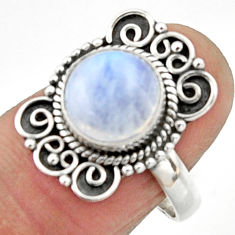 4.42cts natural rainbow moonstone 925 silver solitaire ring size 7.5 r52543